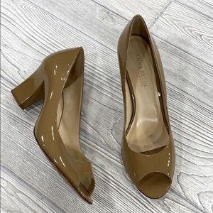 Anne Klein Brown Patent Peep-toe Pumps - sz 9.5